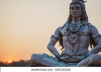 Shiva God Statue in Rishikesh at sunset