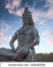 Shiva God Statue at sunset in Rishikesh, India