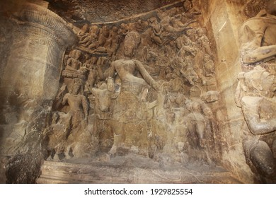 Shiva Statue carve in stone at Trimurti Elephanta Caves, Maharashtra India
