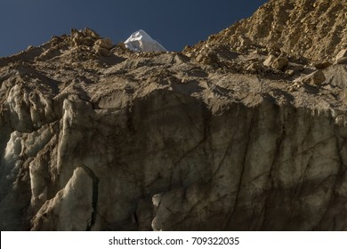 Shivling peak and the Gangotri glacier  terminus at Gaumukh, which is the headwaters of the Bhagirathi River (the main tributary stream of the Ganges). Gangotri National Park, Garhwal Himalayas India.