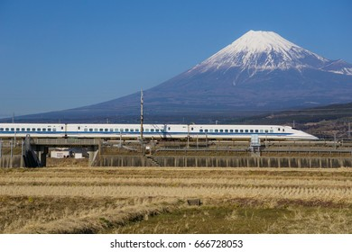 SHIZUOKA - JANUARY 21 : View from beside of bullet train track with Fuji mountain  in the morning Jan 21, 2017 in Shizuoka, Japan.