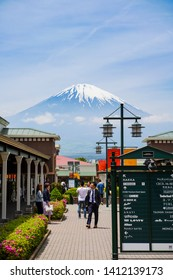 Shizuoka, Japan, 11th, May, 2018. The view of Mount Fuji from Gotemba Premium Outlets, this outlet is a mall located in Gotemba, Shizuoka, Japan, near Mount Fuji.