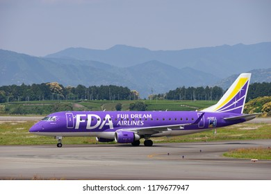 SHIZUOKA, JAPAN - APR. 30, 2018: Fuji Dream Air Embraer ERJ-170-200 (ERJ-175) taxing on the Shizuoka International Airport in Shizuoka, Japan.