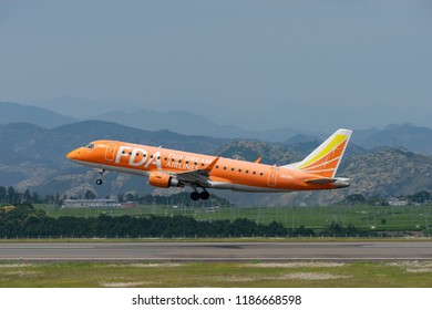 SHIZUOKA, JAPAN - APR. 30, 2018: Fuji Dream Air Embraer ERJ-170-200 (ERJ-175) taking off from the Shizuoka International Airport in Shizuoka, Japan.