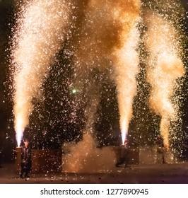 Shizuoka, Japan - April 1, 2018: Tezutsu Hanabi [ hand-held Fireworks Festival ] in Shizuoka Festival, Shizuoka, Japan.