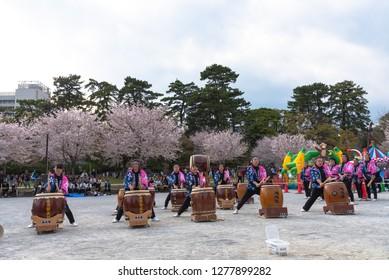 Shizuoka, Japan - April 1, 2018: Shizuoka Festival ( Shizuoka Matsuri ) with Cherry blossoms, Shizuoka, Japan.