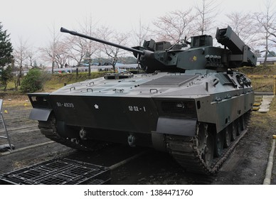 Shizuoka, Japan - April 11, 2010:Japan Ground Self-Defense Force Mitsubishi Type 89 IFV (Infantry Fighting Vehicle).