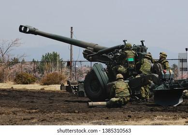 Shizuoka, Japan - April 11, 2010:Japan Ground Self-Defense Force FH-70 155mm towed howitzer.