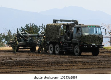 Shizuoka, Japan - April 11, 2010:Japan Ground Self-Defense Force Artillery tractor with FH-70 155mm towed howitzer.