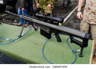 Shizuoka, Japan - April 11, 2010:United States Marines Barrett Firearms Manufacturing M107 anti-materiel sniper system.