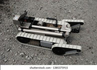 Shizuoka, Japan - April 11, 2010:United States Marines iRobot PackBot Explosive Ordnance Disposal (EOD) robot.