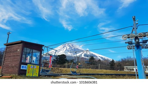 SHIZUOKA, JAPAN -  December 5, 2017: Mt. Fuji view from Snowtown Yeti that is the place for enjoy winter activities shoot from mobile camera. This photo shoot in front of station control ski lift .