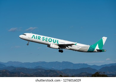 SHIZUOKA, JAPAN - JAN. 5, 2019: Air Seoul Airbus A321-200 taking off from the Shizuoka International Airport in Shizuoka, Japan.