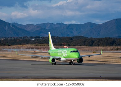 SHIZUOKA, JAPAN - JAN. 5, 2019: FDA (Fuji Dream Airlines) Embraer ERJ-170-200 taxing at the Shizuoka International Airport in Shizuoka, Japan.