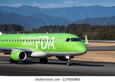 SHIZUOKA, JAPAN - JAN. 5, 2019: FDA (Fuji Dream Airlines) Embraer ERJ-170-200 taxing at the Shizuoka International Airport in Shizuoka, Japan.