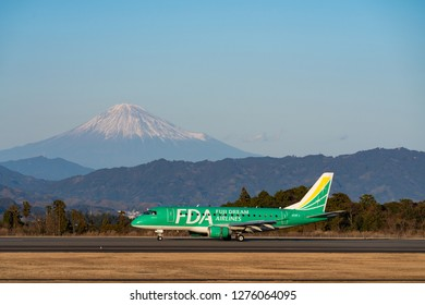 SHIZUOKA, JAPAN - JAN. 5, 2019: FDA (Fuji Dream Airlines) Embraer ERJ-170-100 landing to the Shizuoka International Airport in Shizuoka, Japan.