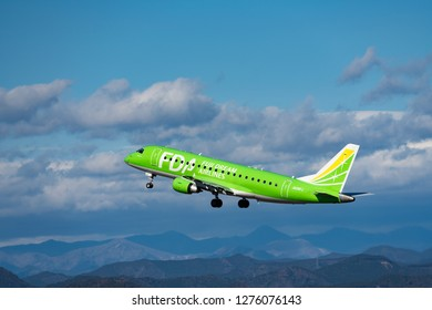 SHIZUOKA, JAPAN - JAN. 5, 2019: FDA (Fuji Dream Airlines) Embraer ERJ-170-200 taking off from the Shizuoka International Airport in Shizuoka, Japan.