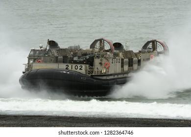 Shizuoka, Japan - July 07, 2018:Japan Maritime Self-Defense Force LCAC-1 air-cushion vehicle conduct an amphibious landing exercise.