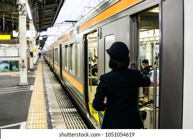 Shizuoka, Japan - March 10th, 2018: Japanese train driver conduct safety checks before departure