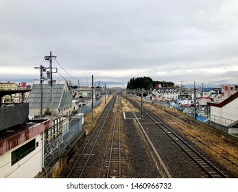 Shizuoka, Japan - March 23, 2019: View of Gotemba Station,  a railway station on the Gotemba Line in the eastern part of the city of Gotemba, Shizuoka, Japan