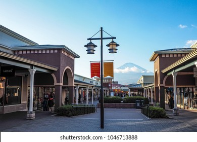 SHIZUOKA, JAPAN - NOVEMBER 21, 2017 : Gotemba Premium Outlets, the famous shopping places that have the famous beautiful Mount Fuji as scenery.
