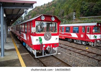 Shizuoka, Japan, Tuesday 20 March 2018 : Local train in Shizuoka at train station