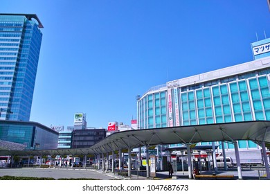 Shizuoka, Japan-March 14, 2018: Scenery in front of JR Shizuoka station North entrance station