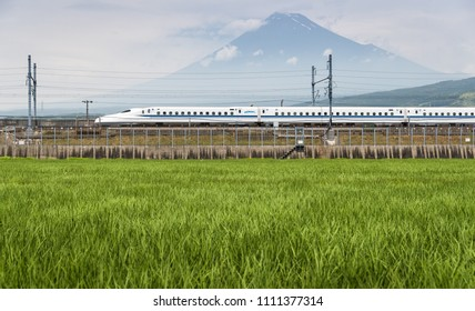 Shizuoka - July 03 : Shinkansen bullet train and Mountain Fuji on July 03 , 2017 , Shizuoka ,Japan. Shinkansen is world's busiest high-speed railway operated by four Japan Railways companies.