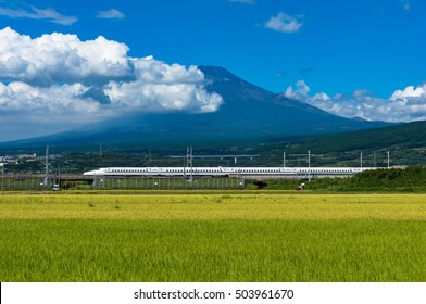 Shizuoka prefecture, Japan - September 3, 2016: Bullet train, Shinkansen travel below Mt. Fuji with bright ripe rice field, paddy on the foreground. Iconic Japan sightseeings