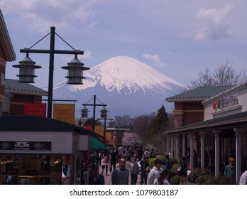 Shizuoka,Japan April,16 2017, This is Gotemba outlet in Shizuoka prefecture. It is a popular place to shop and sightseeing at the outlet mall at the foot of Mount Fuji.