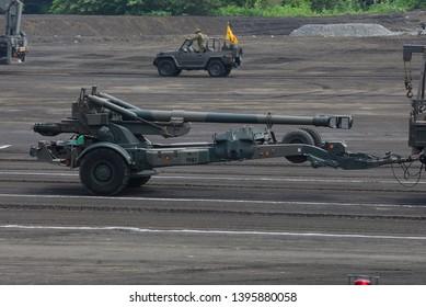 Shizuoka,Japan - July 10, 2011:Japan Ground Self-Defense Force FH-70 155mm towed howitzer.