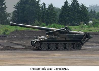 Shizuoka,Japan - July 10, 2011:Japan Ground Self-Defense Force M110A2 203mm self-propelled howitzer.
