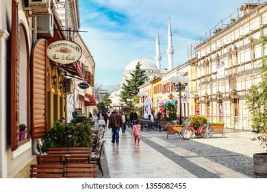 Shkoder, Albania. March 2019: Downtown of Shkoder, a city in north of Albania, people with bicycles.