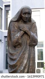 SHKODER, ALBANIA - MAY 02, 2019: Statue of Saint Mother Teresa in the center of the Shkoder, Albania