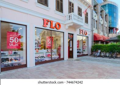 SHKODER, ALBANIA - SEPTEMBER 6, 2017: Youth clothing store FLO on pedestrian street Rruga Kole Idromeno, Shkoder, Albania