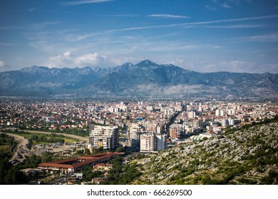 Shkoder city in Albania with mountains in background beautiful landscape.