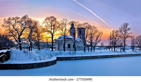Shlisselburg. Cathedral of the Annunciation Schluesselburg. The sluices of the Ladoga Canal in winter.