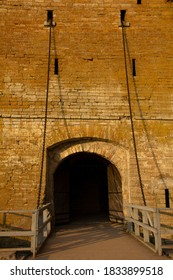 Shlisselburg. Entrance gate to the fortress. Brickwork of the tower wall