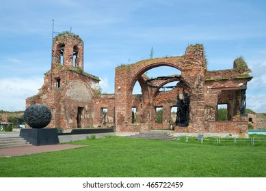 SHLISSELBURG, RUSSIA - AUGUST 01, 2016: the ruins of St. John Cathedral is a memorial in memory of the defenders of the fortress of Oreshek in the years of the Great Patriotic war