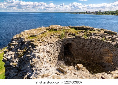 Shlisselburg, Russia - August 8, 2018: Ruins of the ancient Oreshek fortress. View of the Ladoga lake from the wall of the medieval fortress