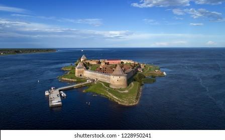 SHLISSELBURG, RUSSIA - CIRCA AUG 2018: Aerial view on fortress Oreshek on island in Neva river near Shlisselburg town, Leningrad region, Russia