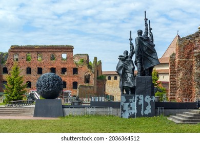 Shlisselburg, Russia - June 02, 2021: Memorial Complex in the courtyard of the medieval fortress Oreshek located on Orekhovy Island in Lake Ladoga. Tooday fortress is part of the UNESCO World Heritage
