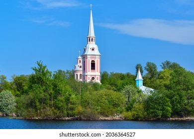 Shlisselburg, Russia - May 20, 2021: The Annunciation Cathedral in the city of Shlisselburg. Shlisselburg is a town in Kirovsky District of Leningrad Oblast, located at the head of the Neva River.