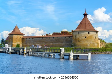 Shlisselburg, Russia - May 27, 2021: medieval fortress Oreshek located on Orekhovy Island in Lake Ladoga. Tooday fortress is part of the UNESCO World Heritage Site.