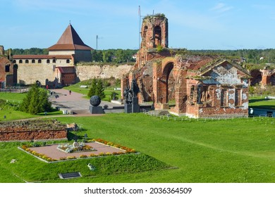 Shlisselburg, Russia - September 19, 2020: Courtyard of the medieval fortress Oreshek located on Orekhovy Island in Lake Ladoga. Tooday fortress is part of the UNESCO World Heritage Site.