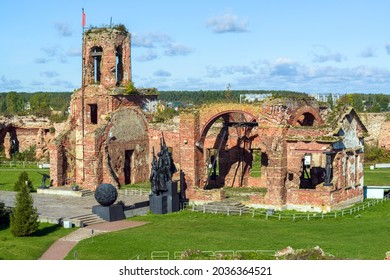Shlisselburg, Russia - September 19, 2020: Ruins of St. John's Cathedral in the courtyard of medieval fortress Oreshek located on Orekhovy Island in Lake Ladoga.
