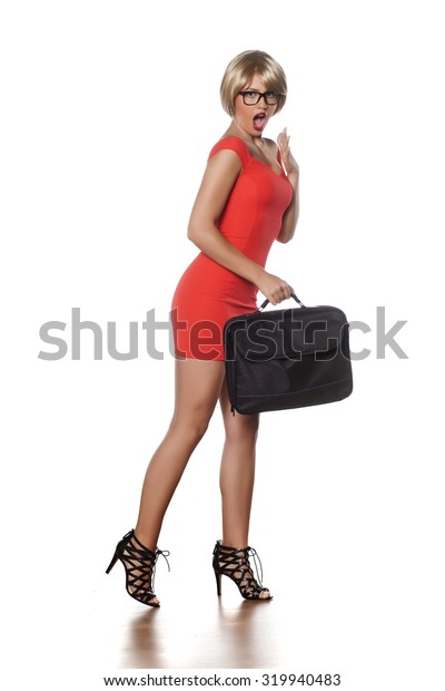 shocked beautiful blonde with short hair and a laptop bag
