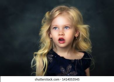 shocked beautiful little girl open mouth