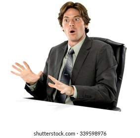 Shocked Caucasian man with short dark brown hair in business formal outfit showing stop hand - Isolated