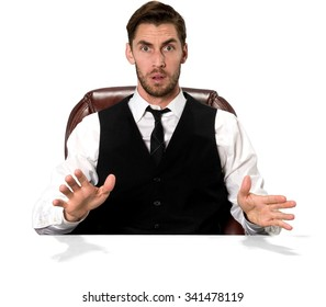 Shocked Caucasian man with short dark brown hair in business casual outfit talking with hands - Isolated